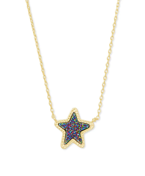 Kendra Scott Jae Star Short Pendant Necklace - Gold/Multi Drusy