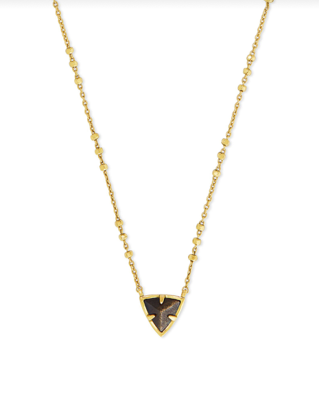 Kendra Scott Perry Vintage Gold Pendant Necklace - Golden Obsidian