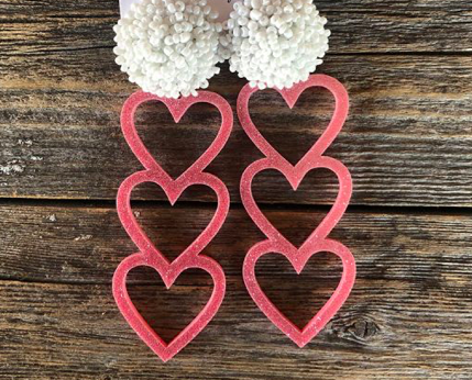 Trio Heart Pink Glitter Earrings w/ White Poms
