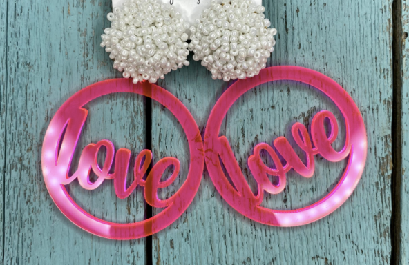 Round Neon Pink Love Earrings w/ White Poms