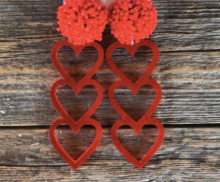 Trio Heart Red Glitter Earrings w/ Red Poms