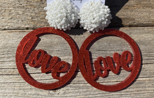 Round Red Glitter Love Earrings w/ White Poms