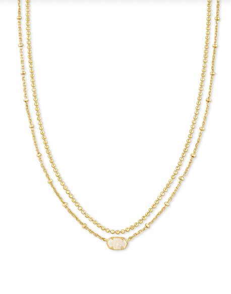 Kendra Scott Emilie Multi Strand Necklace - Gold/Iridescent Drusy