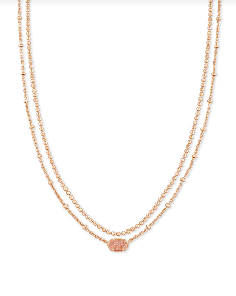 Kendra Scott Emilie Multi Strand Necklace - Rose Gold/Sand Drusy