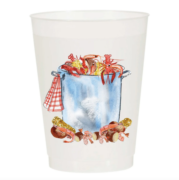 Watercolor Reusable Cups, Set of 10 - Low Country Boil Pot
