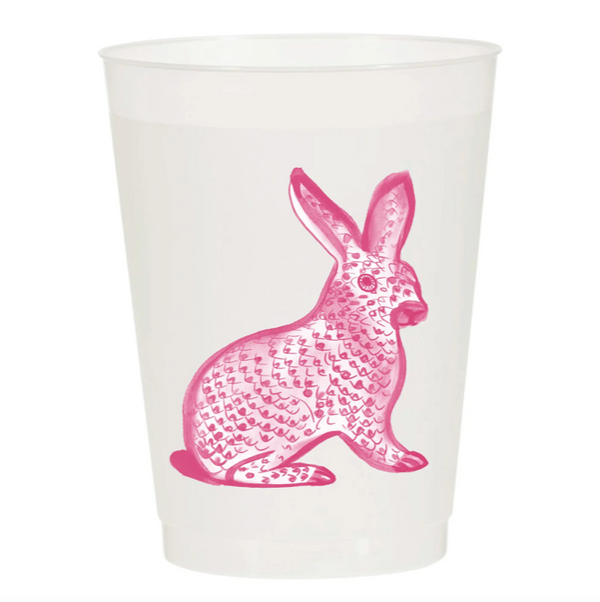 Watercolor Reusable Cups, Set of 10 - Herend Bunny Pink
