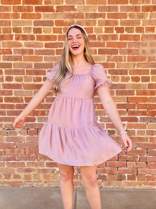 Mae Babydoll Dress - Mauve