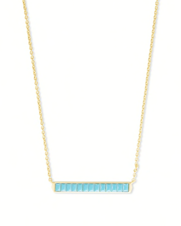 Kendra Scott Jack Short Pendant Necklace - Gold/Turquoise Crystal
