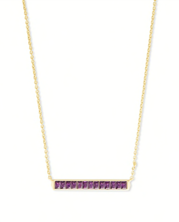 Kendra Scott Jack Short Pendant Necklace - Gold/Purple Crystal