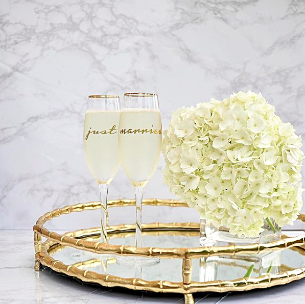 8 Oak Lane Round Mirrored Tray - Gold Bamboo