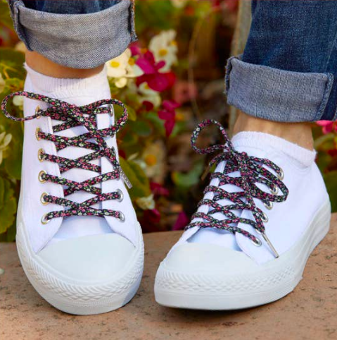 Cute Laces - Navy With Pink Flowers