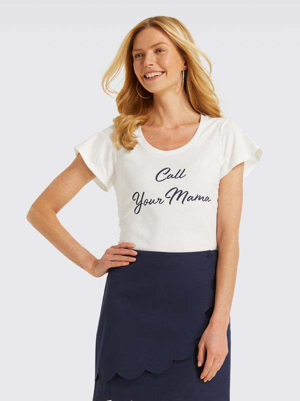 Draper James Call Your Mama Tee - Willow White