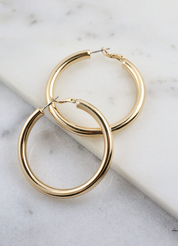 Archbold Latchback Hoop Earrings - Gold