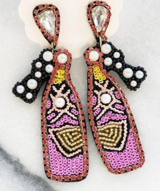 Champagne Sequin & Beaded Dangle Earrings - Pink