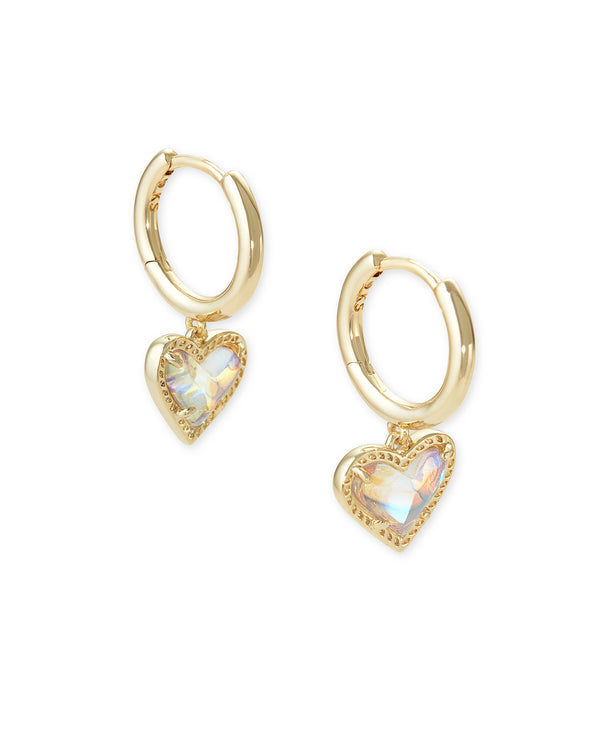 Kendra Scott Ari Heart Huggie Earrings - Gold/Dichroic Glass