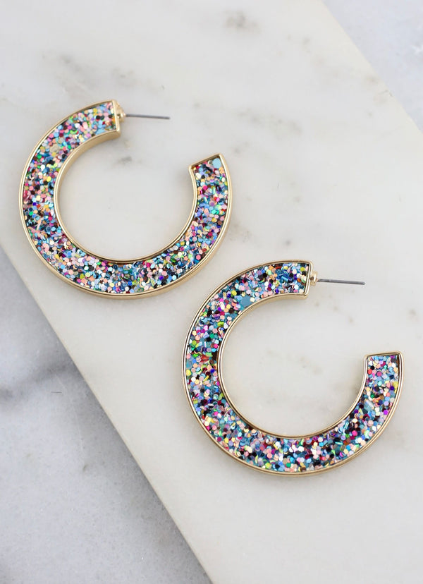 Jolly Glitter Hoop Earrings - Light Multi