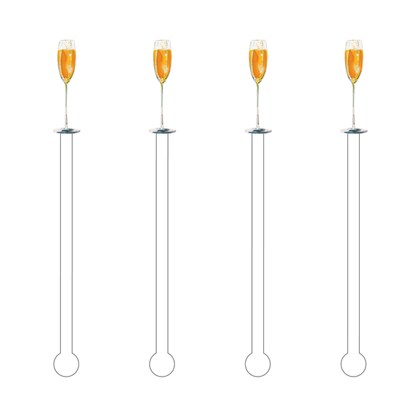 Copy of Acrylic Sticks Set of 4 - Glass of Bubbles