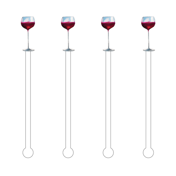 Acrylic Sticks Set of 4 - Red Wine