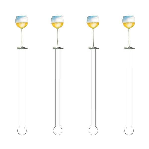 Acrylic Sticks Set of 4 - White Wine