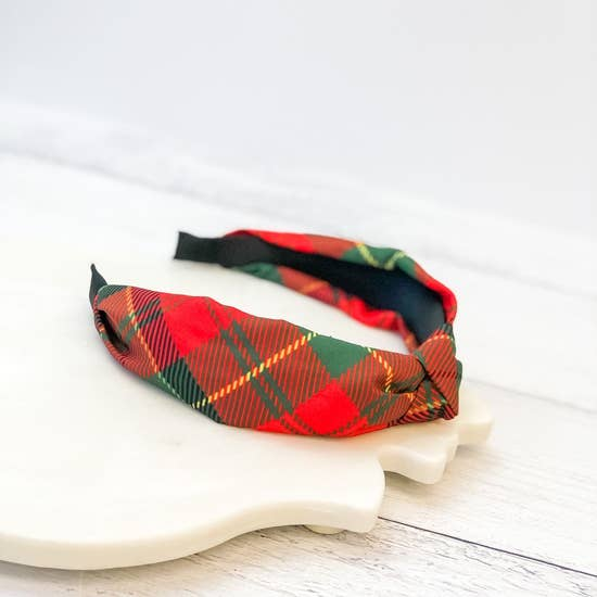 Holiday Plaid Top Knot Headband - Red/Green