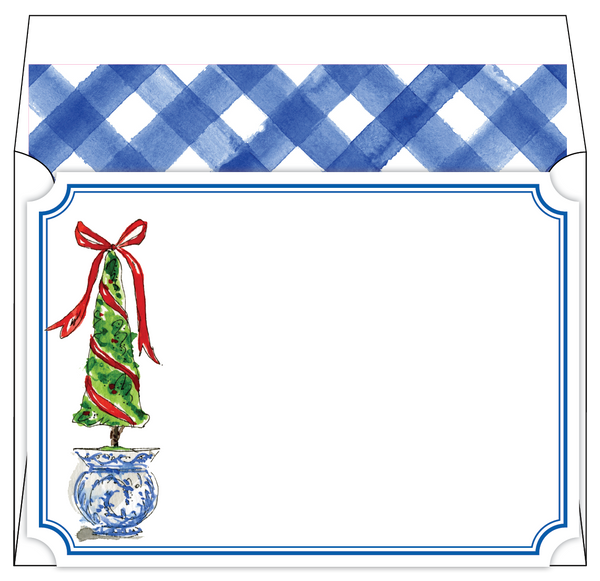 Rosanne Beck Social Stationary - Christmas Topairy Blue Buffalo Check
