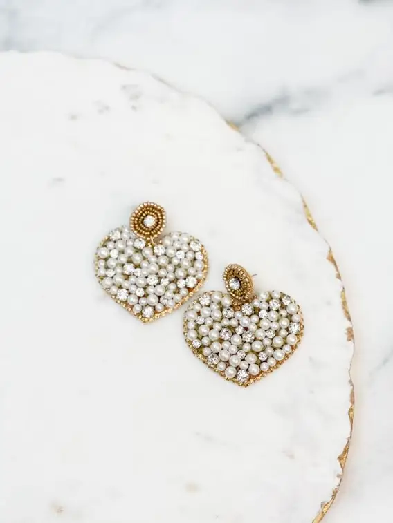 Pearl Heart Statement Earrings