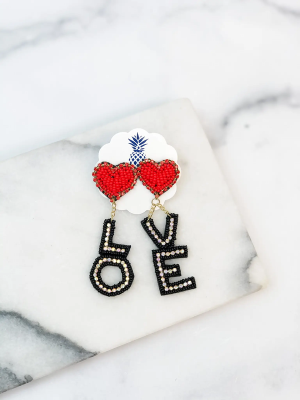LOVE Beaded Dangle Earrings - Red/Black
