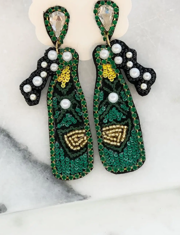 Champagne Sequin & Beaded Dangle Earrings - Green