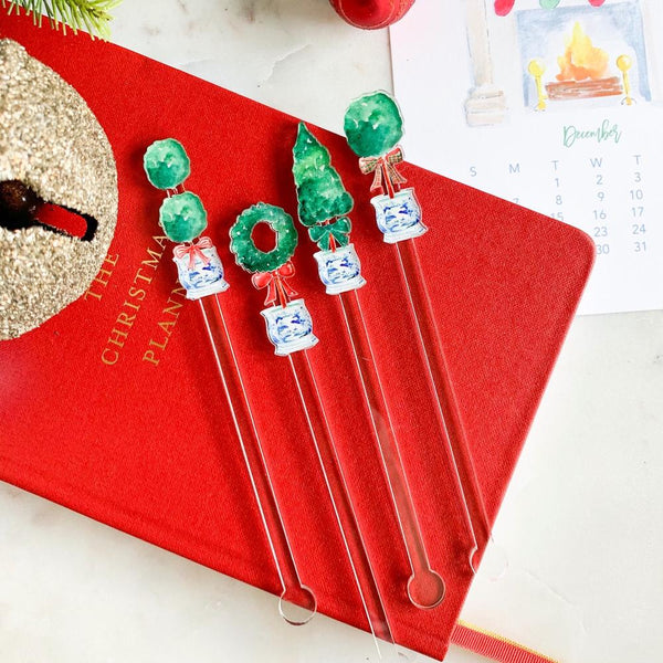 Acrylic Sticks Set of 4 - Christmas Boxwood Beauties Combo
