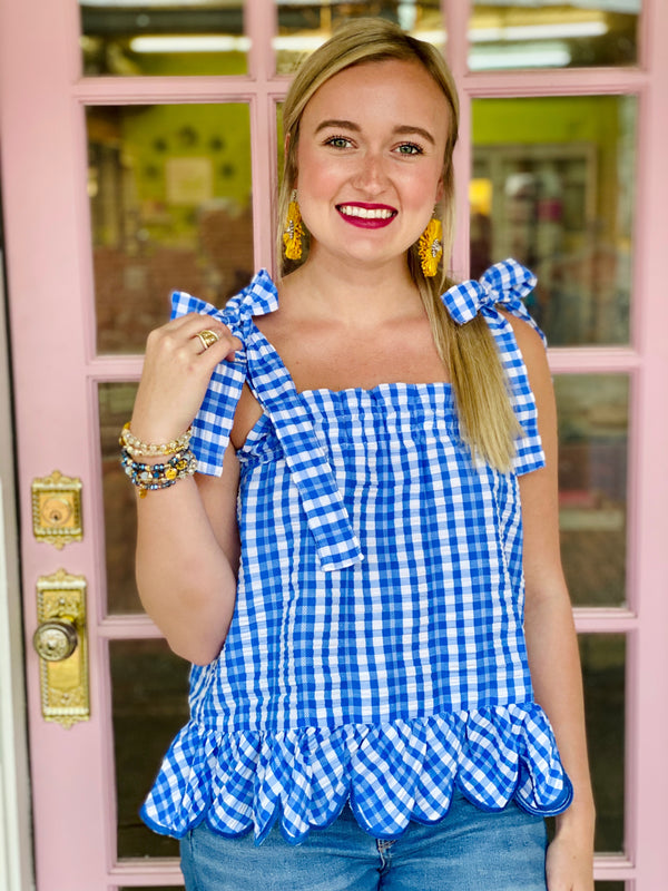 Dixie Gingham Top - Blue/White
