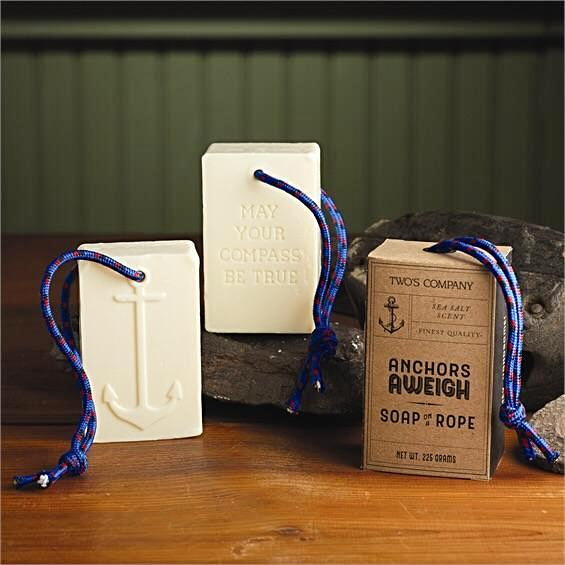 Two's Company Stay Anchored Soap On A Rope - Sea Salt