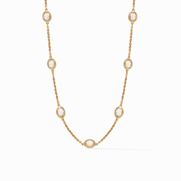 Julie Vos Demi Delicate Station Necklace  - Gold/Clear Crystal