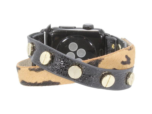 Erimish Crisscross Leather Apple Watch Band - Leopard