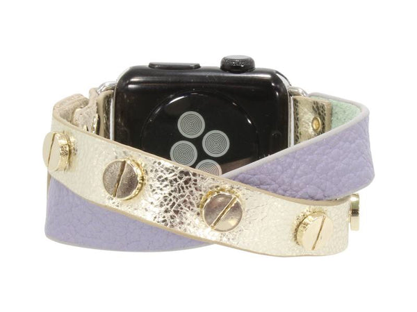 Erimish Crisscross Leather Apple Watch Band - Lilac Silver