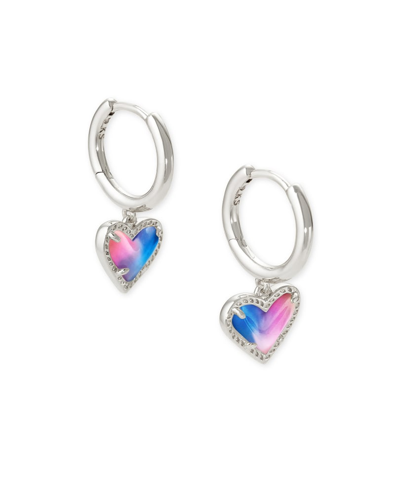 Kendra Scott Ari Heart Huggie Earrings - Silver/Watercolor Illusion