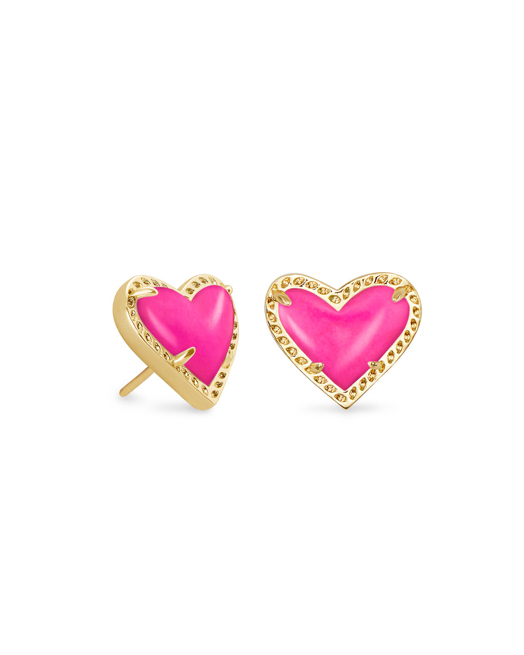 Kendra Scott Ari Heart Stud Earrings - Gold/Magenta Magnesite