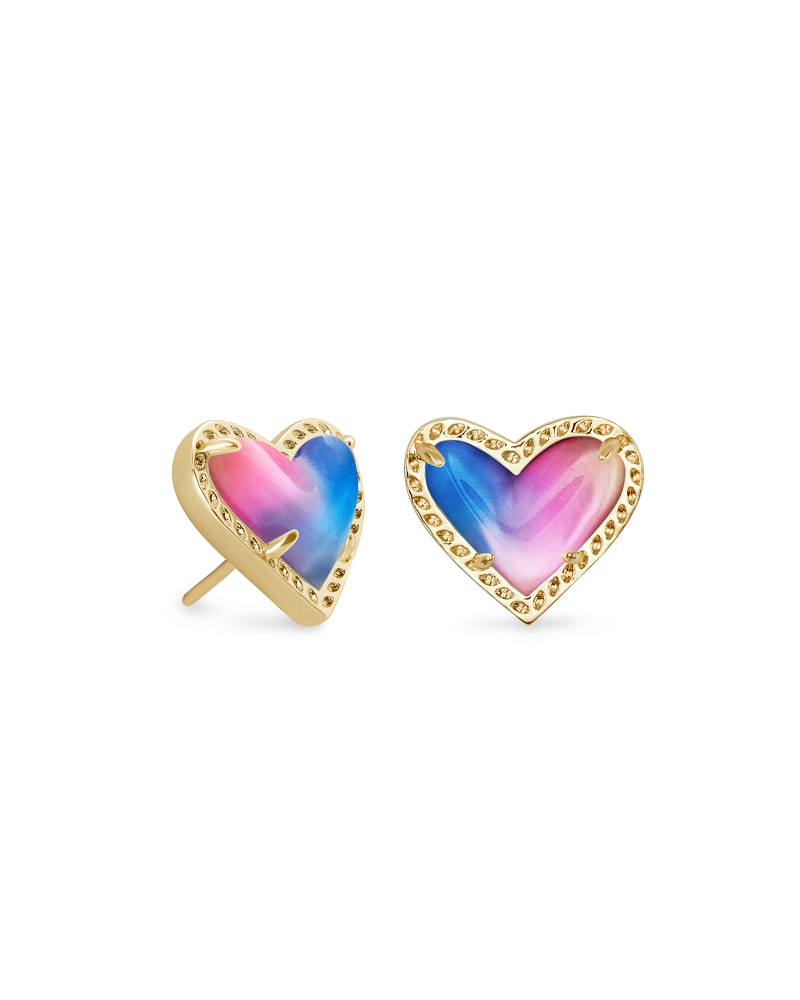 Kendra Scott Ari Heart Stud Earrings - Gold/Watercolor Illusion