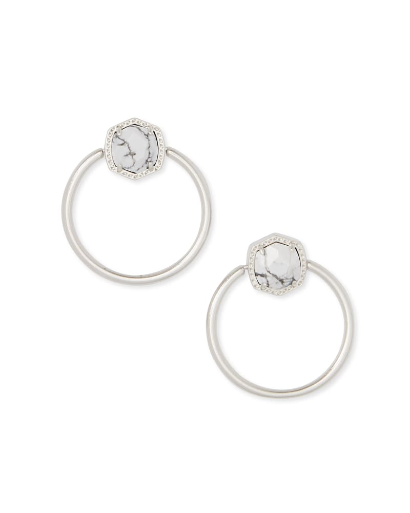 Kendra Scott Davie Hoop Earrings - Silver/White Howlite