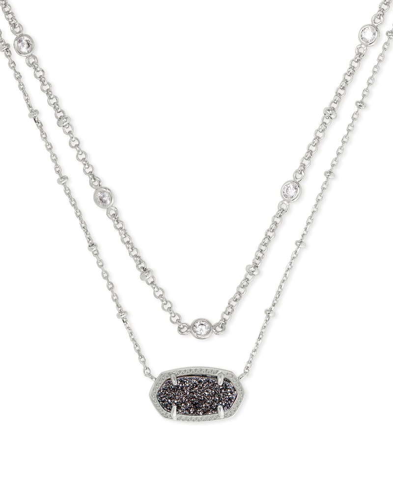 Kendra Scott Elisa Multi Strand Necklace - Silver/Platinum Drusy