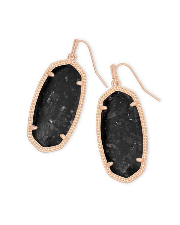 Kendra Scott Black Granite Elle Earring - Rose Gold