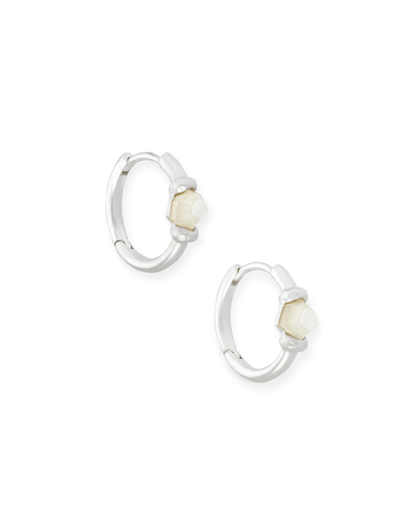 Kendra Scott Ellms Huggie Earrings - Bright Silver Mother of Pearl