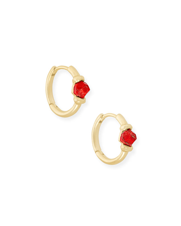 Kendra Scott Ellms Huggie Earring - Gold Bronze Veined Red Magnesite
