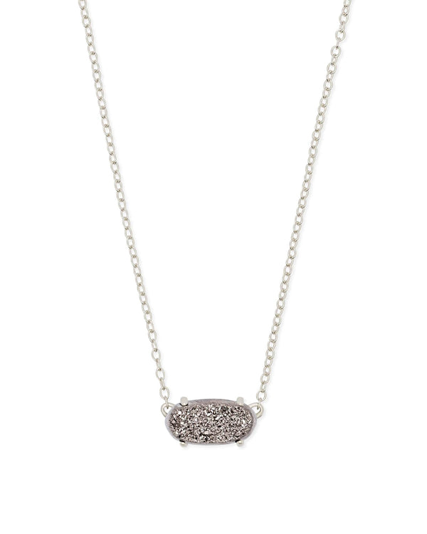 Kendra Scott Ever Necklace - Platinum Drusy & Silver