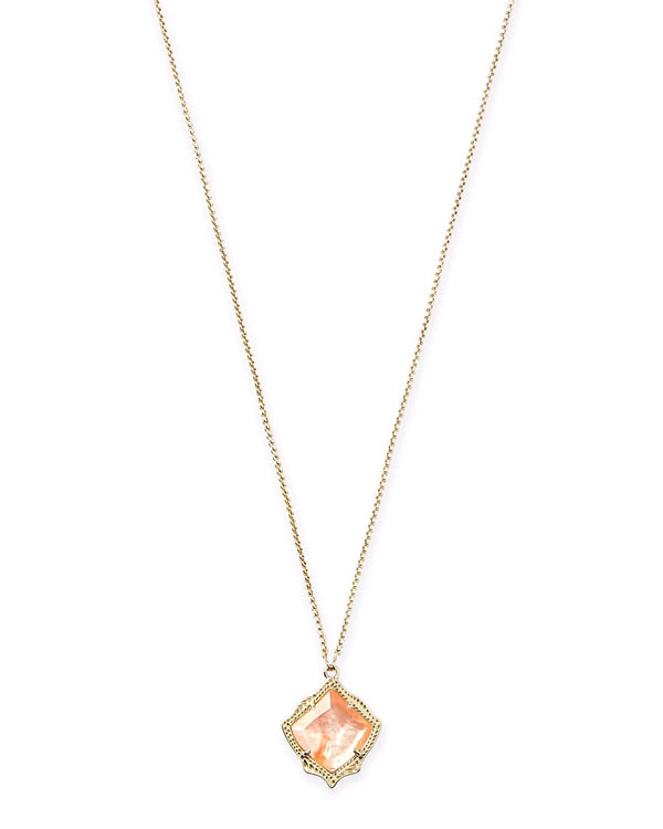Kendra Scott Kacey Necklace - Gold Peach Mother Of Pearl