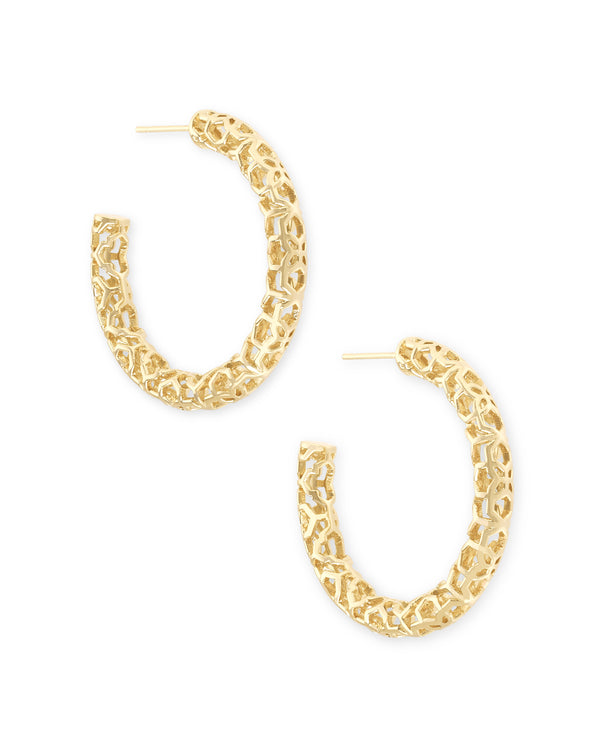 "Kendra Scott Maggie 1.5"" Hoop Earrings - Gold Filigree"