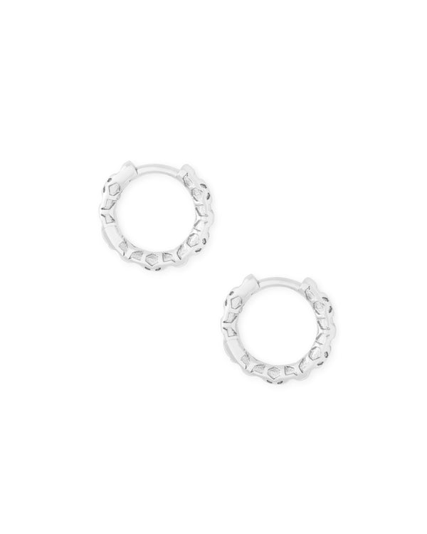 Kendra Scott Maggie Huggie Earrings - Rhodium Filigree
