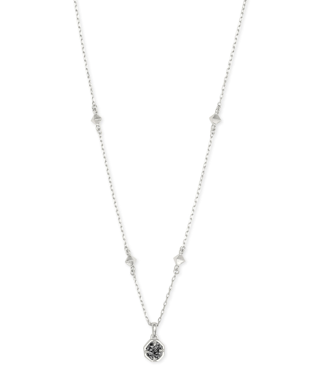 Kendra Scott Nola Short Pendant Necklace - Rhod Platinum Drusy