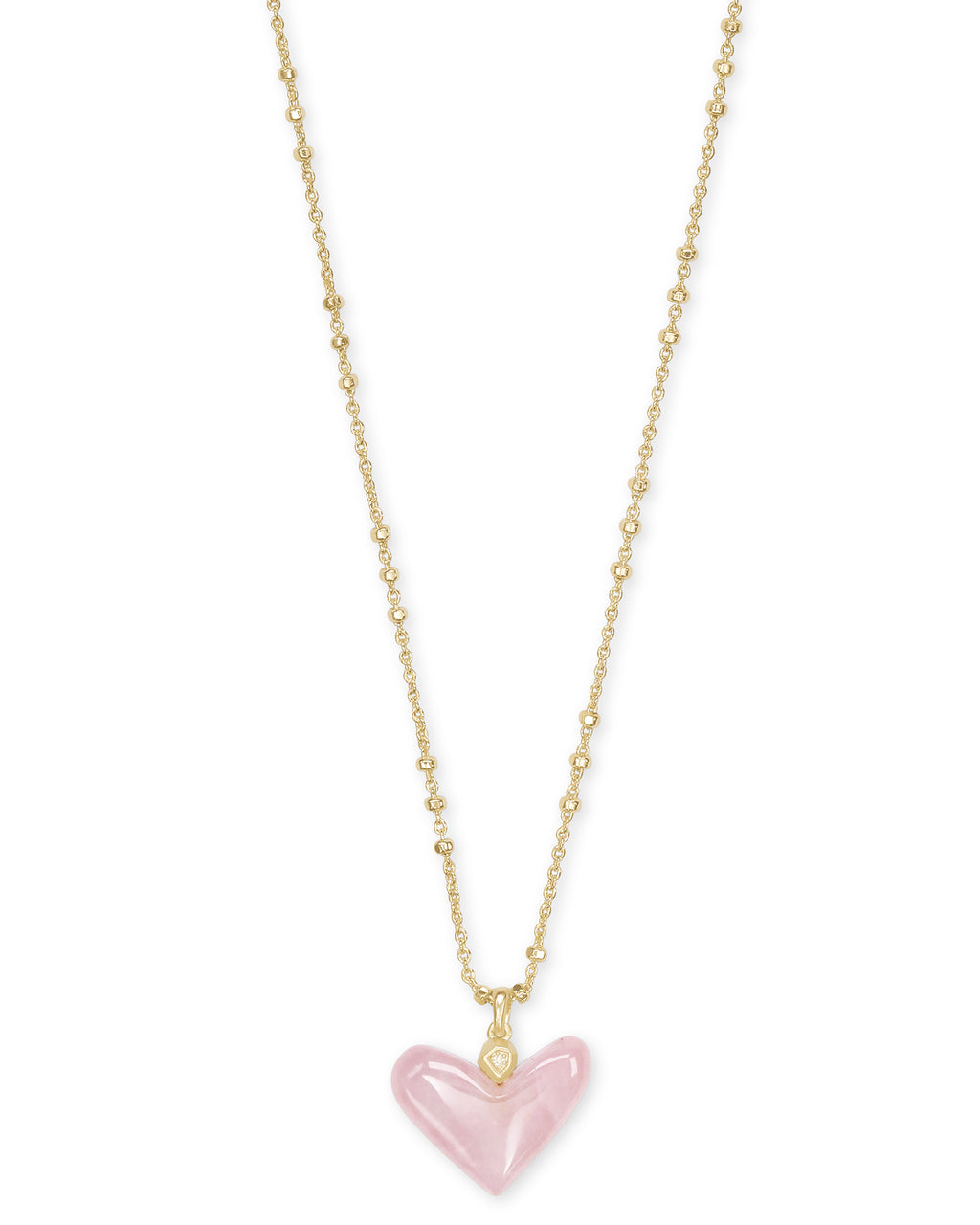 Kendra Scott Poppy Heart Short Pendant - Gold/Rose Quartz