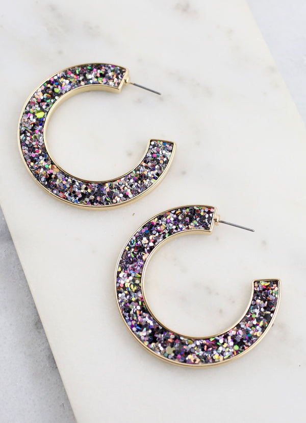 Jolly Glitter Hoop Earrings - Dark Multi