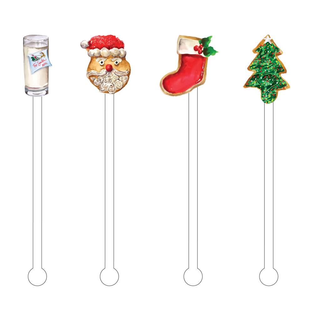 Acrylic Sticks Set of 4 - Milk & Cookies for Santa